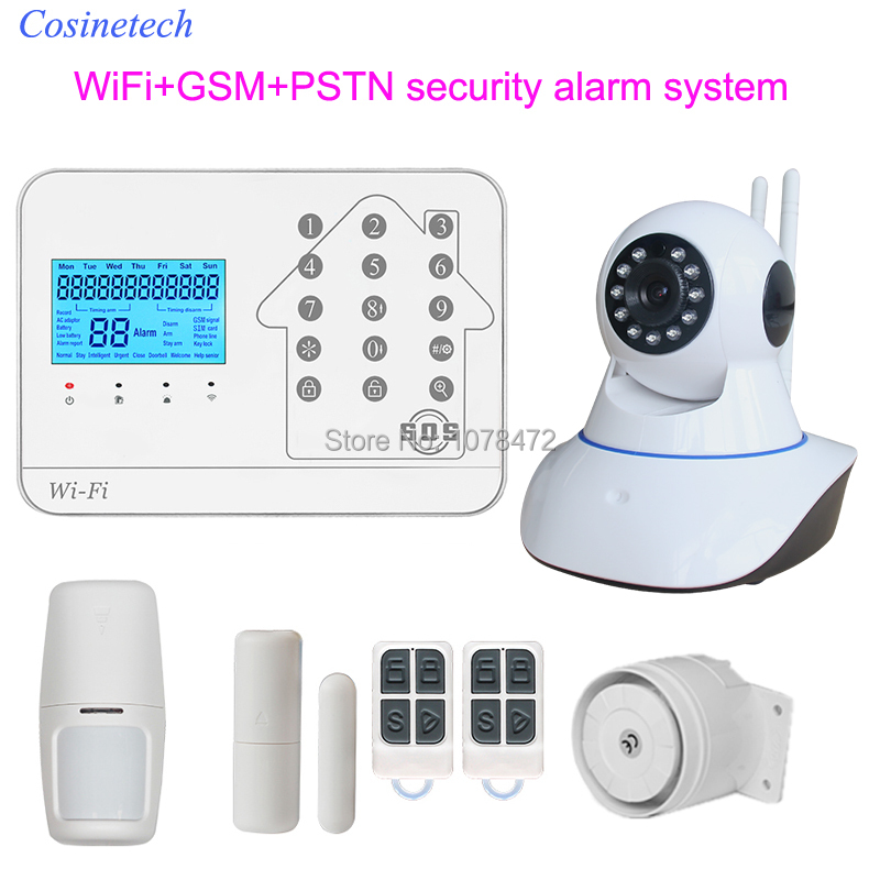 High quality GSM PSTN WiFi alarm system,APP control home security alarm system work with IP camera,PIR sensor,siren door contact