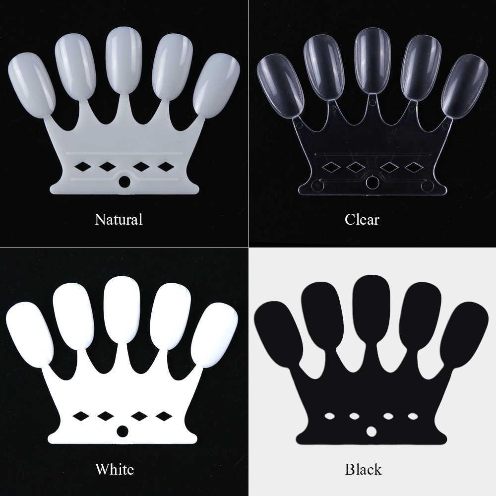 Накладные ногти круглой формы, 10 шт., цветные карты для практики, прозрачный натуральный черный чехол, искусственные ногти, инструменты для маникюра CH767