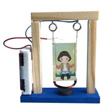 DIY Handmade Cradle Invention Experiment Wood Electromagnetic Science Swing Set Educational Toy for Children Birthday Gifts(China)