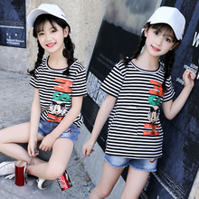 Childrens clothing cartoon letters striped cotton girls T-shirt 2019 summer new fashion short-sleeved round neck baby clothes