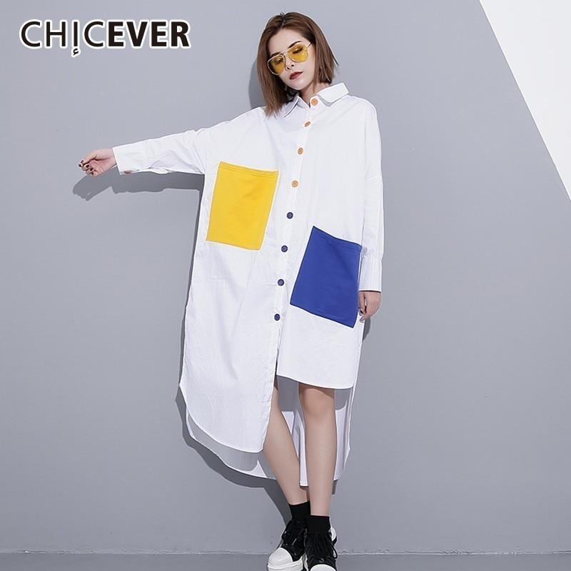 CHICEVER Hit Colors Blouses Women's Shirts Tops Female Lapel Long Sleeve Single Breasted Hem Split Asymmetric Fashion Tide