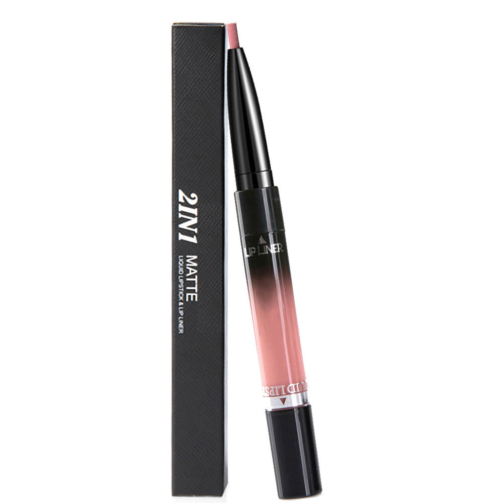 2 in 1 Lip Liner Lipstick Liquid Matte Waterproof Lip liner Contour Easy to Wear Lip Pen Makeup Red Nude Lip Pencil 4