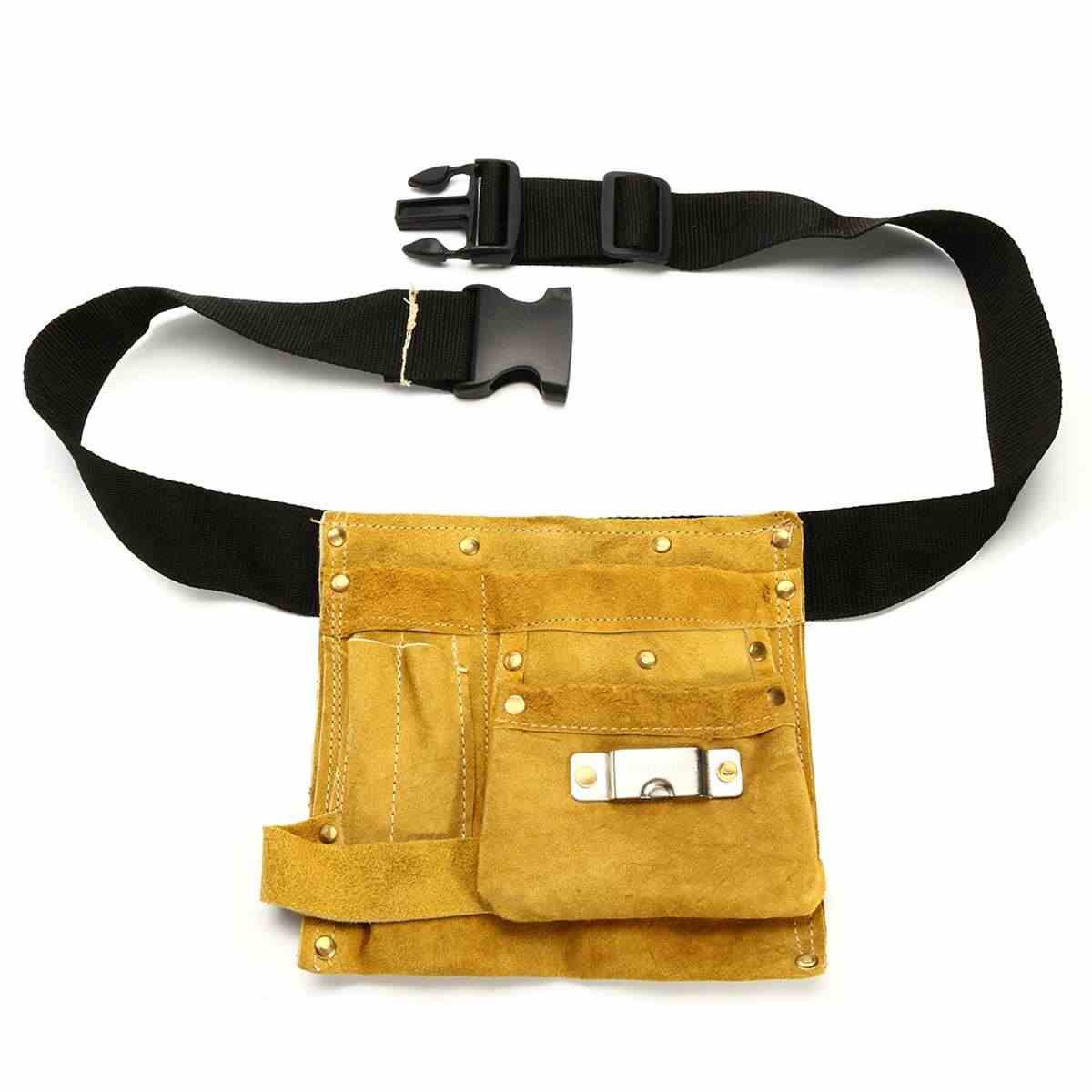 8/14 Pockets Leather Waist Tool Belt Pouch Bag Screwdriver Kit Repair Tool Holder Portable Carpenter Electrician Accessories