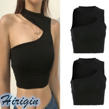 Women Crop Tops Summer Sexy Vest Top Shirt Halter Sleeveless Irregular One Shoulder Black Tank
