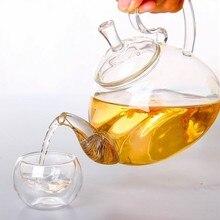 1 шт., 250 мл, 600 мл, 750 мл, 1200 мл, термостойкий стеклянный цветочный кофейник с высокой ручкой, чайный горшок из цветущего стекла Jn 1011