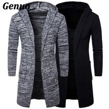 2018 New Fashion Mens Cardigan Sweaters Casual Long Coat Autumn Hooded Knitted Sweatercoats Male Embroidery