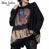 Max LuLu 2019 Spring Luxury Japan Ladies Vintage Tops Tee Shirts Womens Oversized T shirt Harajuku Clothes Female Printed Tshirt