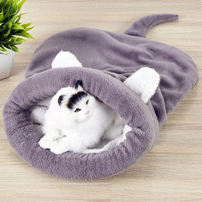 Warm Coral Fleece Cat Sleeping Bag Bed For Puppy Small Dogs Pets Cat Mat Bed Kennel House Soft Warm Sleeping Bed For Pets