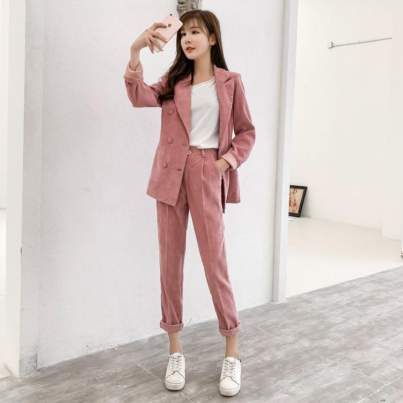 2018 Casual Pink Corduroy Women Pant Suits Double Breasted Blazer Jacket & Pencil Pant Autumn Winter Warm Female Suit