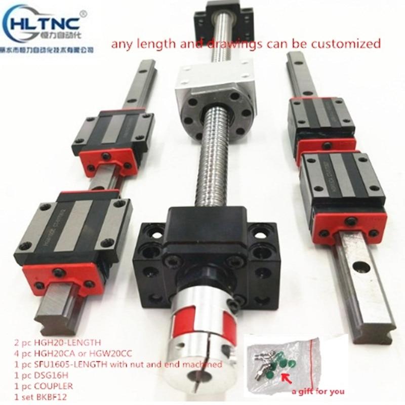 2 pc HGH20 HGR20 1500MM 1 SET SFU1605 4 HGw20Cc end bearing BKBF12 DSG16H coupling xb25