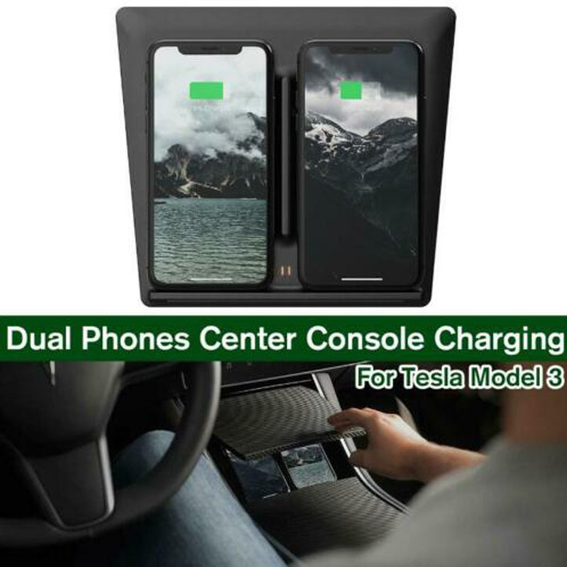 Qi Wireless Charger for Tesla Model 3 Dual Phone USB Port Center Console AutoQi Wireless Charger for Tesla Model 3 Dual Phone USB Port Center Console Auto