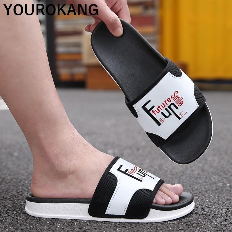2019 Summer Men Beach Slippers Outdoor Non-slip Soft Couple Shoes Unisex Slides Fashion Flip Flops Hot Sale Bathroom Sandals