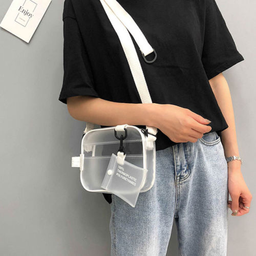 PVC Transparent Bag For Women Ladies Girl Fashion PVC Jelly Clutch Bag Leather Casual Handbags