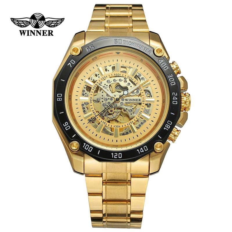 Mechanical Watches Winner Classic Golden Skeleton Mechanical Watch Men Stainless Steel Strap Top Brand Luxury Man Watch Vip Drop Shipping Wholesale