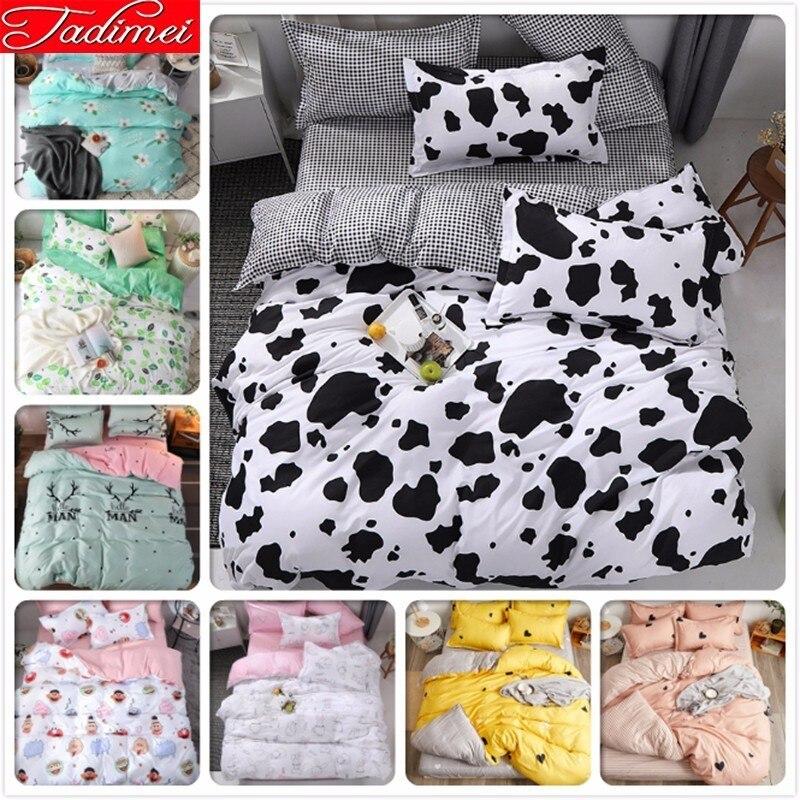 Cow Pattern Black White Duvet Cover Plaid Bedding Set Adult Kids Child Soft Cotton Bed Linen Single Twin Queen King Size 150x200