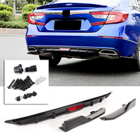 Car Rear Bumper Lip Spoiler Wing For Honda Accord 2018 Automobile Parts Accessories Glossy Black 3pcs