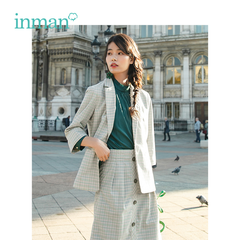 INMAN 2019 Spring New Arrival Turn Down Collar Retro Blazer High Waist Skirt Plaid Women Two