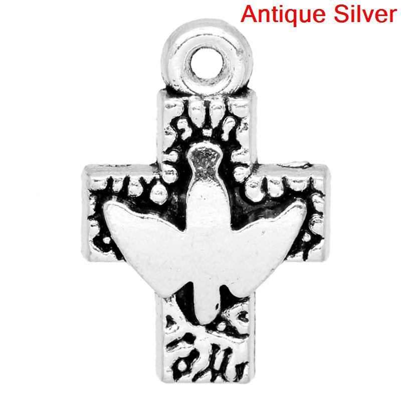 Doreenbeads 20 Silver Tone Peace Pigeon Cross Charm Pendants Yiwu Cheap Sales 50% b05977