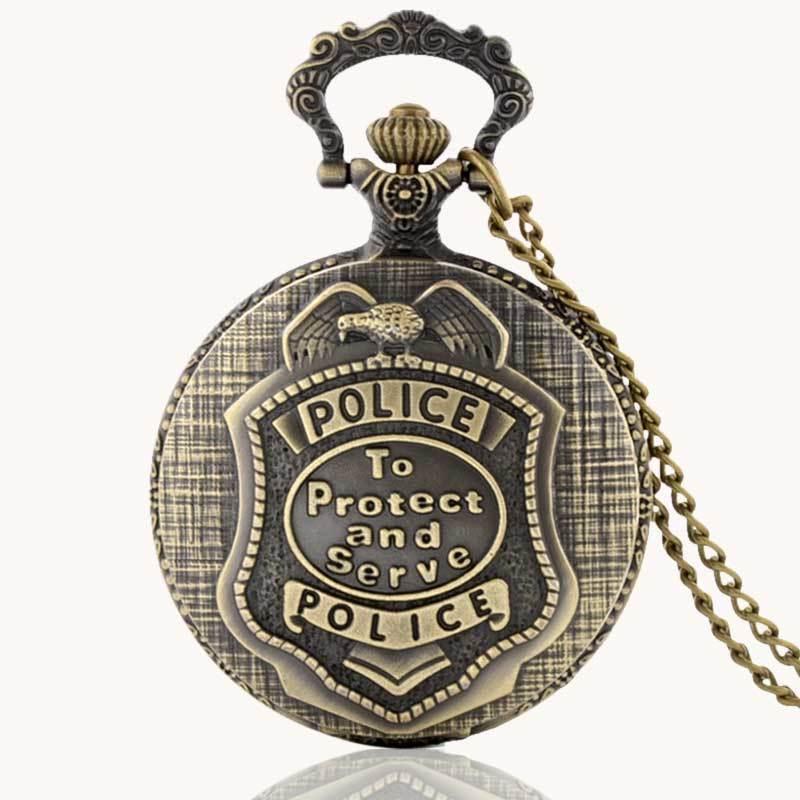 IBEINA Police Theme Full Hunter Quartz Engraved Fob Retro Pendant Pocket Watch Chain Gift