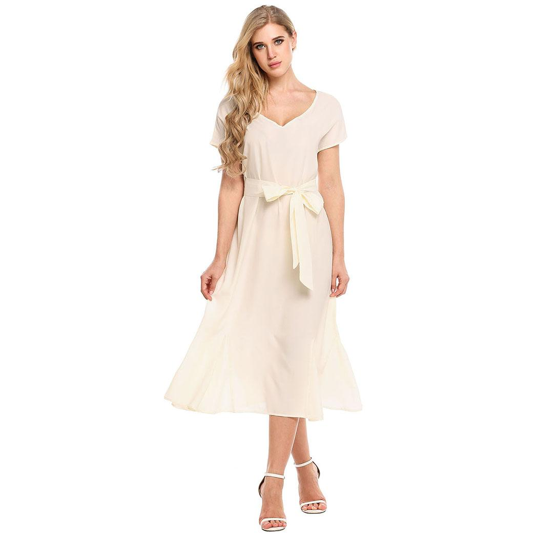 AL'OFA Women Elegant   Cocktail     Dresses   Loose V-Neck Short Sleeve Solid Party A-Line Party   Dress   with Belt Ladies Clothes