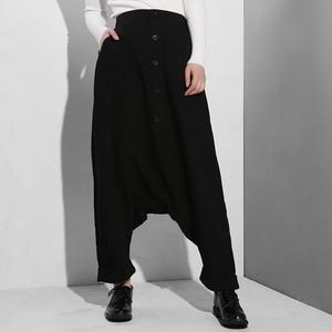 Image 4 - [EAM] 2020 New Spring Autumn High Elastic Waist Black Button Split Joint Thin Loose Cross pants Women Trousers Fashion Tide YG25
