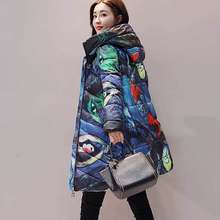 Winter Printed Down Cotton Jacket Coat Women Thicker Long Parka Hooded Digital Printing Plus Size Outerwear Female Casual Padded(China)