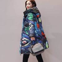 Winter Printed Down Cotton Jacket Coat Women Thicker Long Parka Hooded Digital Printing Plus Size Outerwear Female Casual Padded