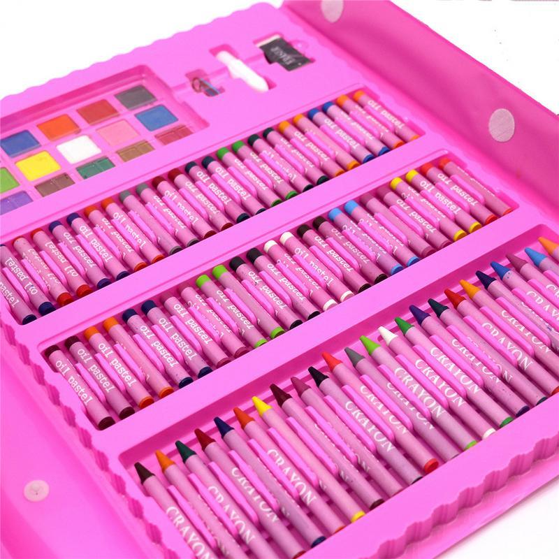 208 pièces enfants peinture ensemble peinture à l'huile bâtons dessin brosses élémentaire eau couleur stylos esquisse Crayons cadeaux - 4