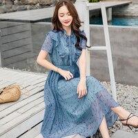 2019 новые летние джинсовые шорты в Корейском стиле с воротником-стойкой и Одежда в горошек с коротким рукавом платье, эластичный пояс пляжно...