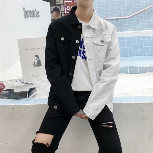 Casual Slim Denim Jacket For Men 2019 White And Red Jeans Jacket Streetwear Denim Baseball Coat Man Cowboy Outwear A9095