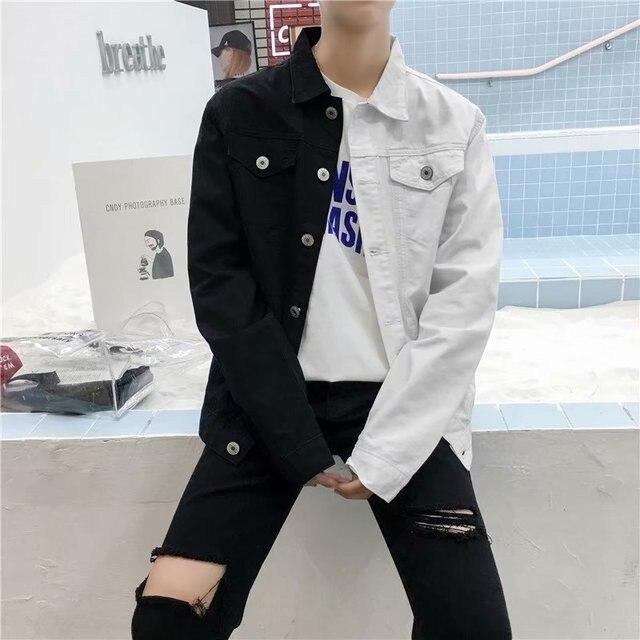 Casual Slim Denim Jacket For Men 2019 White And Red Jeans Jacket Streetwear Denim Baseball Coat Man Cowboy Outwear A9095