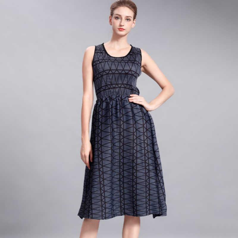 LANMREM/2019 летние платья с геометрическим принтом, комплект для женщин, пуловер с вырезом, топы + Свободная Повседневная Юбка До Колена NA920