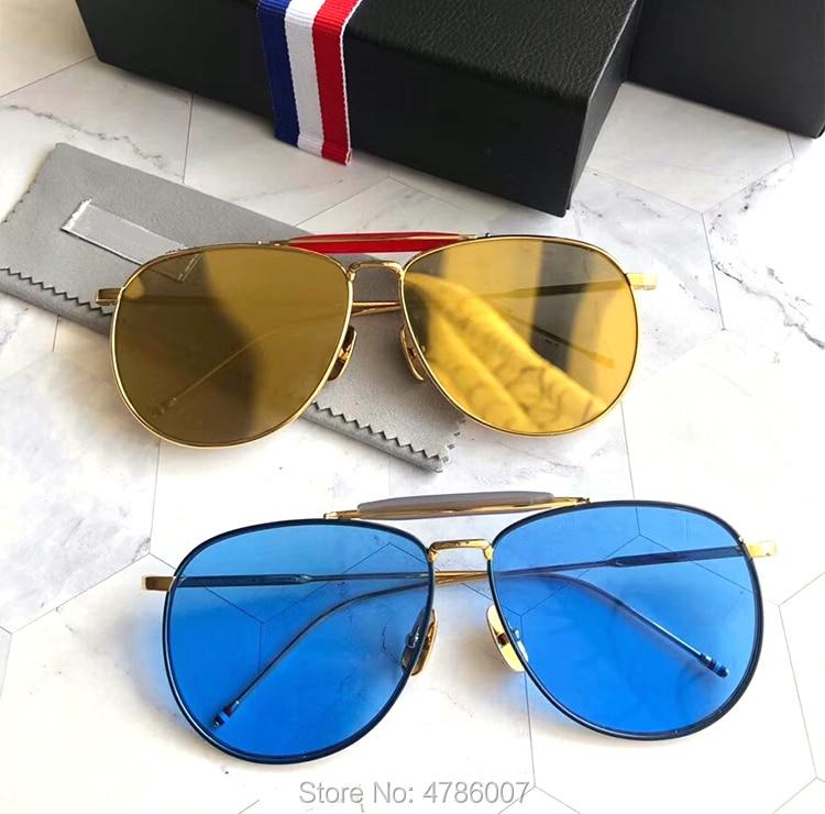 New York Brand Thom High Quality Sunglasses Women And Men Titanium Sunglasses Flat Lenses TB015 Oculos De Sol With Original Box