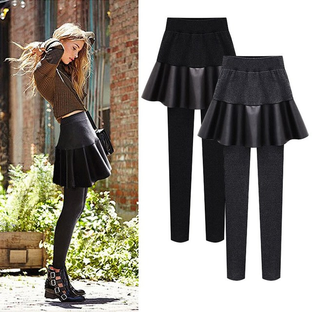 Winter Women Plus Size Fake Two Pieces Pu Skirt Pencil Pants Solid Velvet Elastic Waist Thick Fleece Keep Warm Trousers