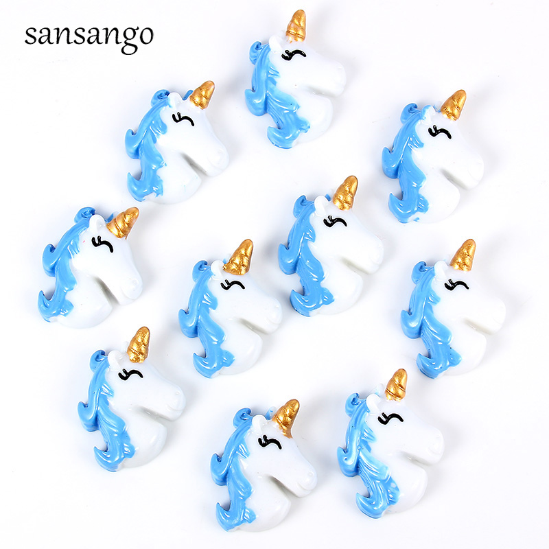10pcs Accessories Flat Back Resin  Unicorn Cabochon For Jewelry Making DIY Decoration Craft Embellishment Accessories Fit Women