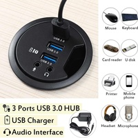 100V 240V Mount In Desk 3 Ports USB 3.0 HUB Adapter External Stereo Sound Adapter Cable Combos Round USB Hub with EU Plug