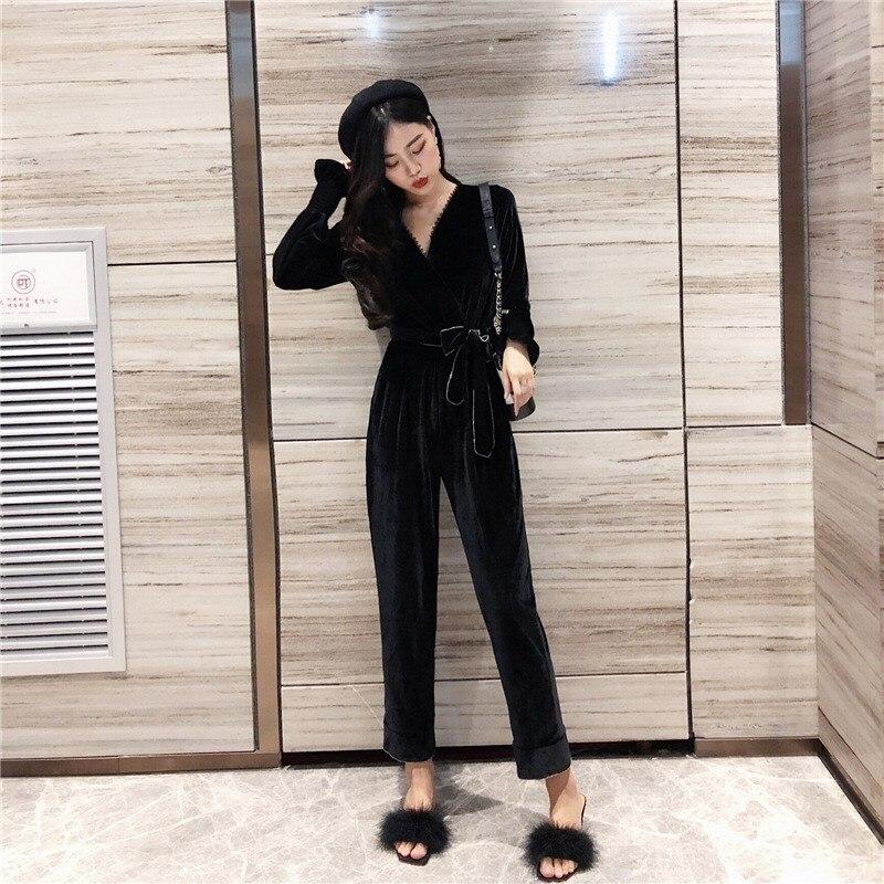 2019 nouvelles femmes noir velours combinaisons ceintures mode col en V à manches longues taille haute à lacets cheville longueur longue barboteuse