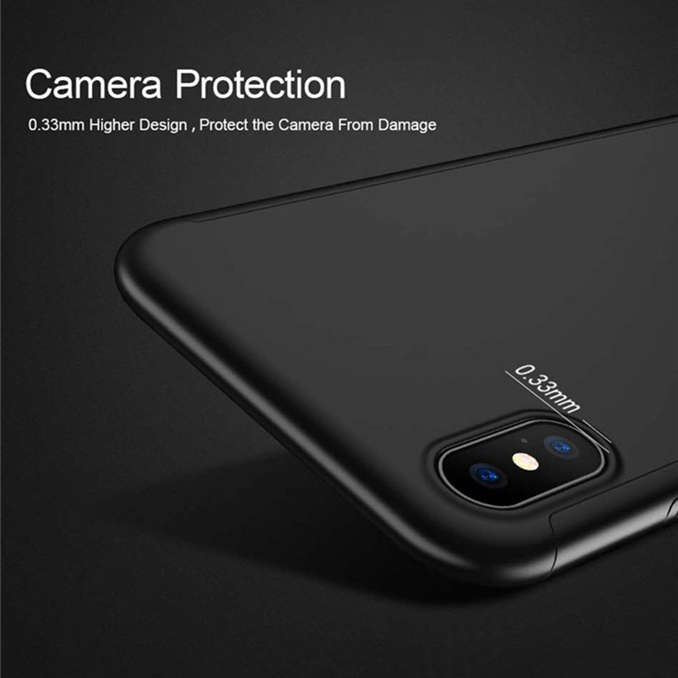 KISSCASE 360 Full Coverage Phone Case For iPhone MAX XR XS X Tempered Film Screen Protector For iPhone 8 7 6 6s Plus 5 5s Covers in Fitted Cases from Cellphones Telecommunications