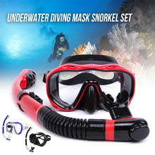 High quality Underwater Full Dry Breathing Tube Diving Goggles Toughened Glass Mask Suit Snorkel Glasses Swim Set
