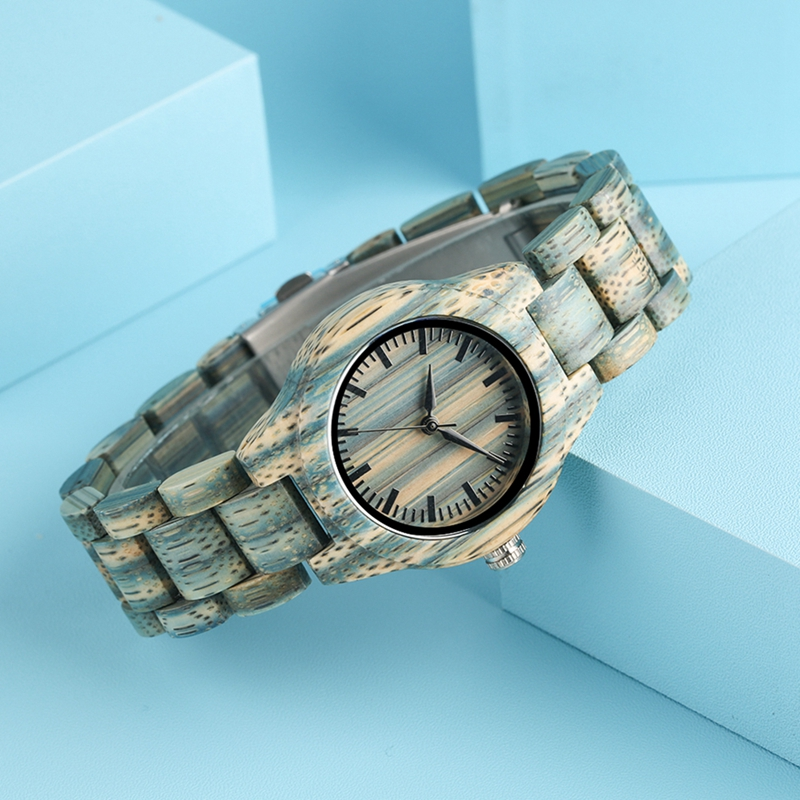 Retro Gray Green Wood Watch Unique Color Slim Full Wooden Bracelet Quartz Clock Ladies Dress Watch Women's Wrist Fashion Watches