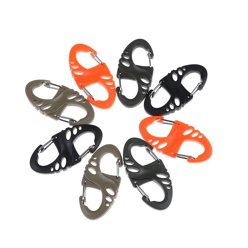 10PCS/Lot Mini Plastic Steel Climbing Hook S Type Carabiner Dual Buckle EDC Keychain Tactical Survival Tool