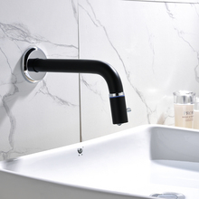 cold water faucet  in wall bathroom black basin stainless steel Lead-free single hole Contemporary minimalist style