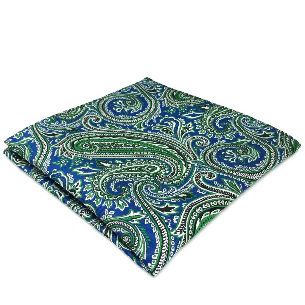 DH29 Blue Green Paisley Silk Men Pocket Square Fashion Classic Hanky Groom Brand New 12.6