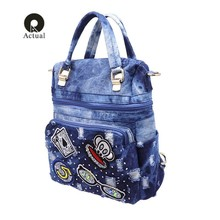 qian yi yuanbrand multifunction women backpack fashion washed denim backpack female school bags for teenagers girls shoulder bag