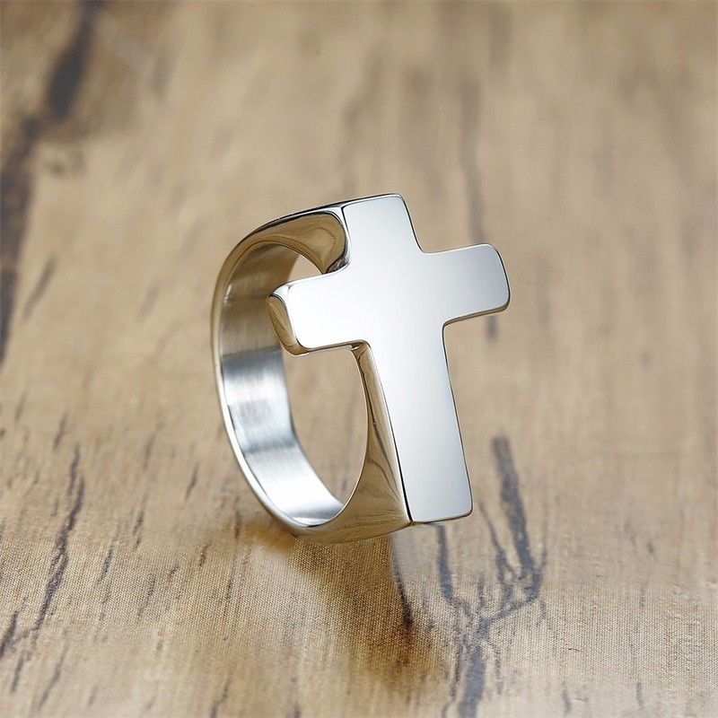 Men Cross Shaped Ring in Stainless Steel with Silverly Black Golden Male Jewelry