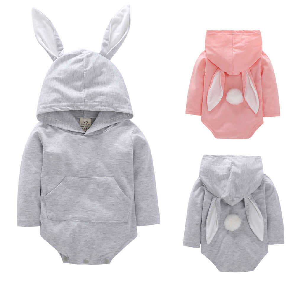 Emmababy Newborn Baby Boy Girl Easter Lovely Solid Bodysuit Bunny ears Hoodie Jumpsuit Spring Clothes Outfits