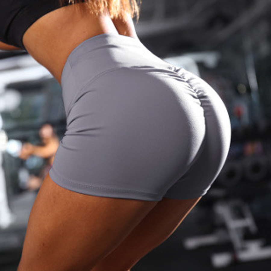 BINAND Women Push Up Athletic Shorts High Waist Polyester Elastic Sexy Push Up Breathable Female Gym Workout Fitness Yoga Shorts