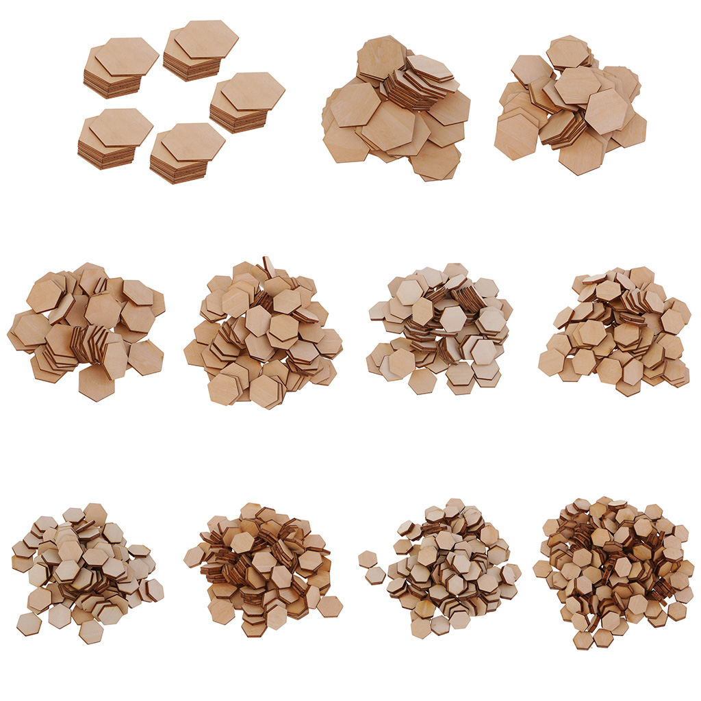 50/100/200pcs Wooden Hexagon Shapes MDF Cutouts Blank Embellishments Craft For DIY Scrapbooking Card Making Decoration Ornaments