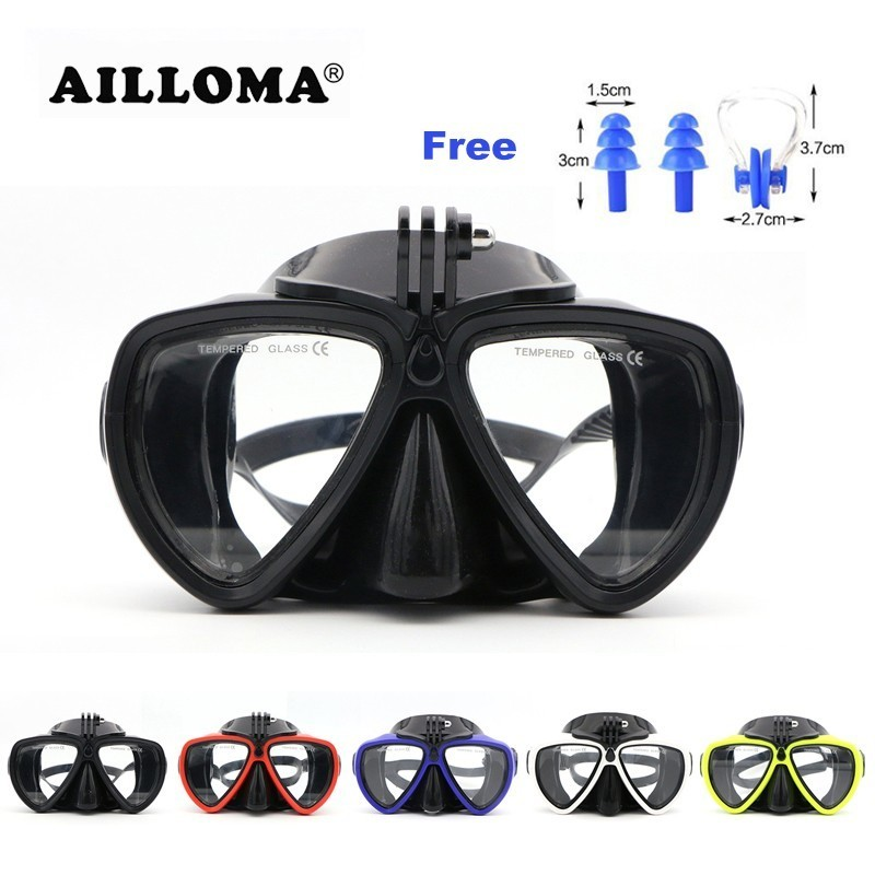 AILLOMA Scuba Underwater Anti Fog Camera Mount Stand Diving Masks Anti-skid Tempered Glass Silicone PVC Swimming Masks Goggles