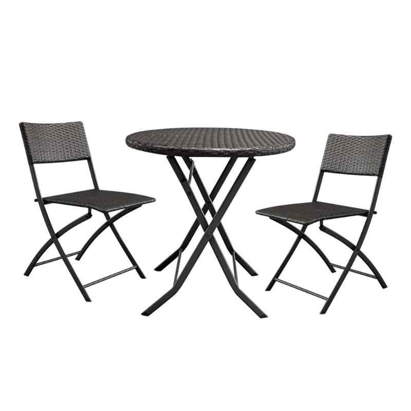 3Pcs/set Foldable Garden Rattan Coffee Table with 2pcs Chairs Househoud Furniture Home Garden Table Set